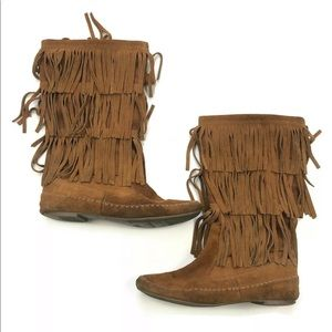 LC Lauren Conrad fringe moccasin boots slouch 7.5
